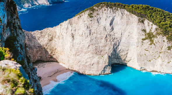 Close up of Navagio beach, Zakynthos island, Greece. Shipwreck bay with turquoise water and white - Stock Photo - Images