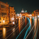Venice twilight blue night scenery. Light illuminated trails of ferries and boats reflected on the - PhotoDune Item for Sale