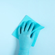 Female Hand Wearing in the Blue Rubber Gloves Cleaning Surface - PhotoDune Item for Sale
