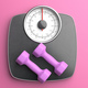 Bathroom scale and pair of dumbbells against pink color background, top view. 3d illustration - PhotoDune Item for Sale