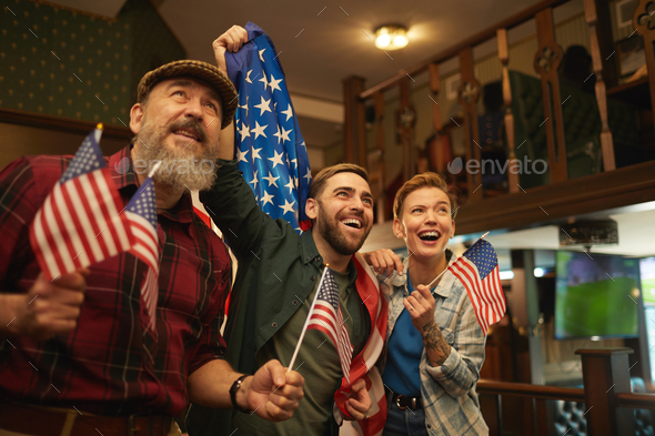 Excited American fans - Stock Photo - Images