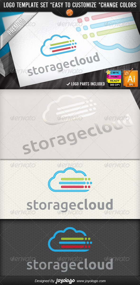 Lines Pixel Color Data Storage Cloud Logo Designs - Symbols Logo Templates