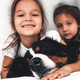 little girls in bed with dog Bernese Mountain Dog, friendship - PhotoDune Item for Sale