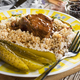 Stewed pork neck in gravy served with barley groats. - PhotoDune Item for Sale
