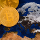 Golden Shiny Bitcoin Crypto Currency Coins On World Map - PhotoDune Item for Sale