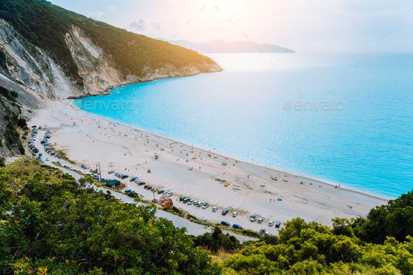 View to Famous Myrtos Beach, Kefalonia, Greece - Stock Photo - Images