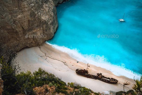 Close up of Shipwreck in Navagio beach. Famous tourist visiting landmark on Zakynthos island, Greece - Stock Photo - Images