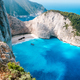 Greece, Zakynthos. Stranded panagiotis freightliner ship in navagio beach from top view - PhotoDune Item for Sale