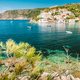 Assos village, Kefalonia island, Greece. Vivid colored houses and transparent turquoise bay - PhotoDune Item for Sale