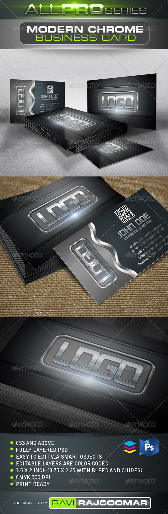 Modern Chrome Business Card - Business Cards Print Templates