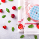 Strawberry smoothie or milkshake in jar with fresh mint.Healthy food - PhotoDune Item for Sale