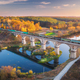 Aerial view of freight train on railroad bridge and river - PhotoDune Item for Sale