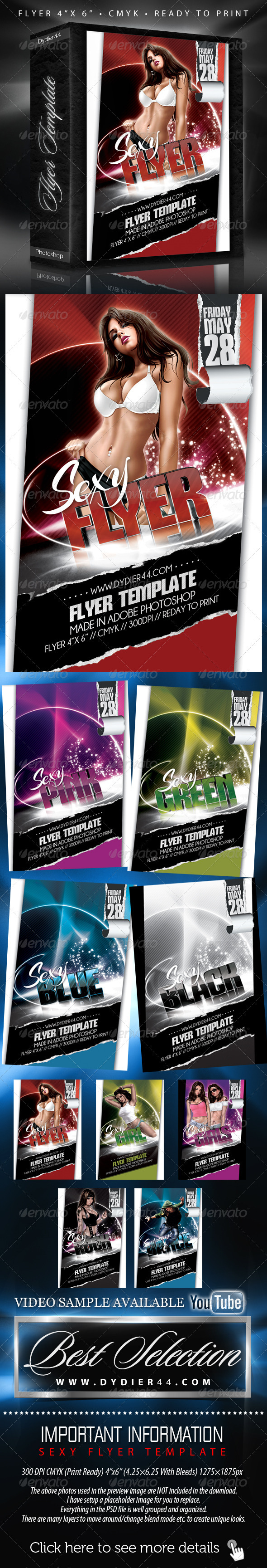 "Sexy Flyer Template (Flyer Template 4""x 6"" ) - Clubs & Parties Events"