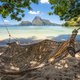 El Nido, Palawan, Philippines. A bamboo hammock in the shade with beautiful tropical cadlao island - PhotoDune Item for Sale