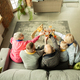 Excited family watching football, sport match at home, top view - PhotoDune Item for Sale