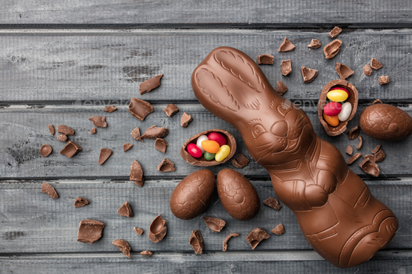 Delicious Easter chocolate bunny, eggs and sweets - Stock Photo - Images