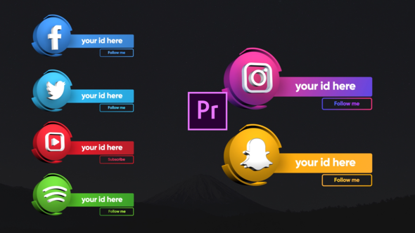 Social Media 3D Lowerthirds – Premiere Pro
