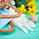 Easter composition at coronavirus quarantine, symbol eggs and narcissus flowers - PhotoDune Item for Sale