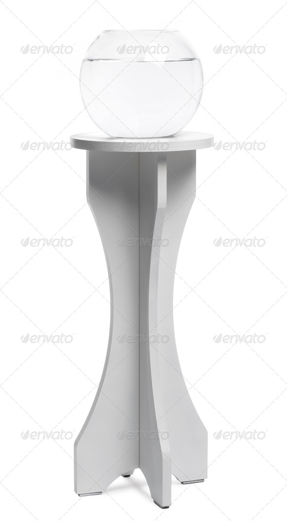 Empty Aquarium on a stand against white background - Stock Photo - Images