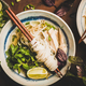 Flat-lay of Vietnamese rice noodle and chicken soup Pho Ga - PhotoDune Item for Sale