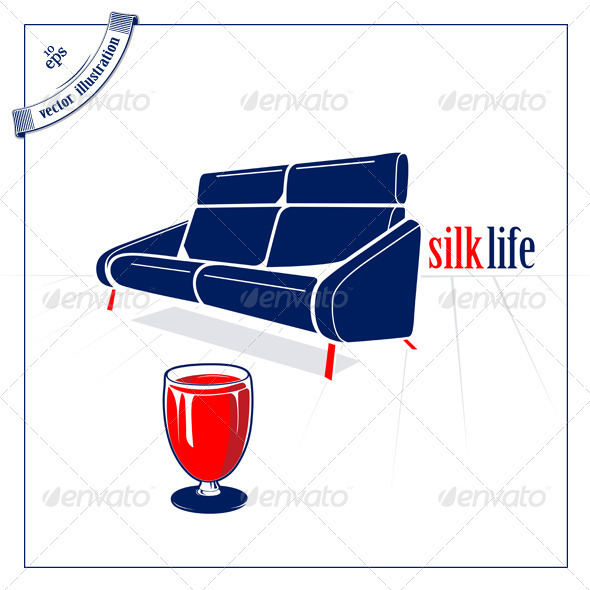 Soft Sofa And Glass Of Red Wine - Man-made Objects Objects