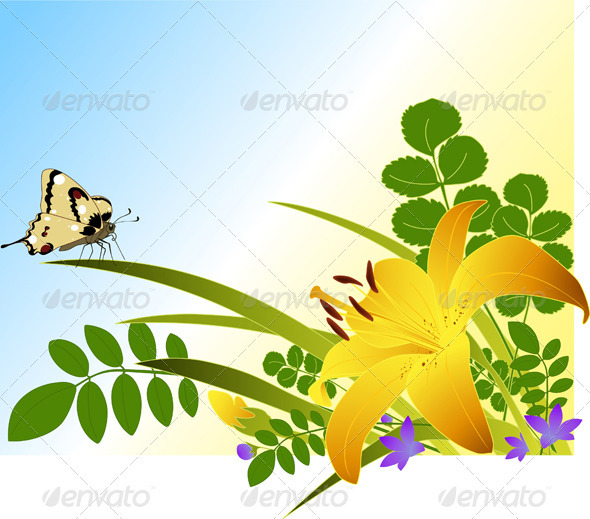 Floral Background with Lily - Flowers & Plants Nature