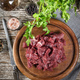 Beef stew prepared on a chopping board. - PhotoDune Item for Sale