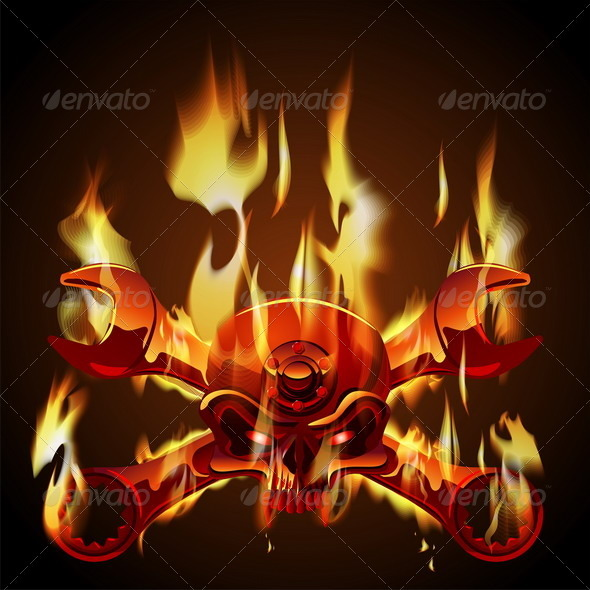 Vector Metal Jolly Roger in Flame - Monsters Characters