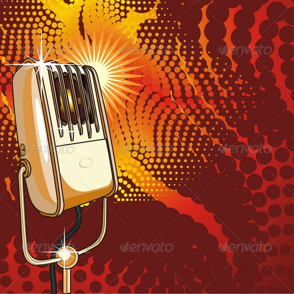 Vintage Microphone on Abstract Background - Seasons/Holidays Conceptual