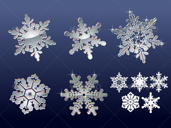 Snowflakes vector Set - Seasons/Holidays Conceptual