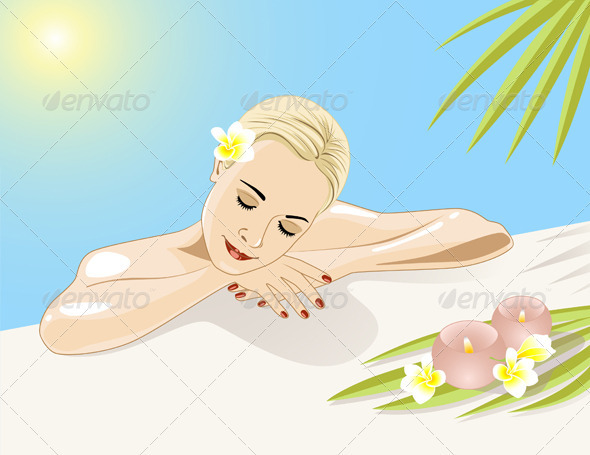 Resting Girl in Swimming Pool - People Characters