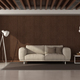 Modern living room with modern sofa against wooden paneling - PhotoDune Item for Sale