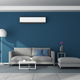 Modern blue living room with gray furniture and air conditioner - PhotoDune Item for Sale