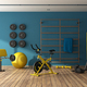 Blue home gym with black and yellow fitness equipment - PhotoDune Item for Sale
