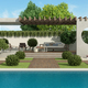 Luxury garden with concrete gazebo and large swimming pool - PhotoDune Item for Sale