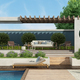 Modern garden with concrete gazebo and swimming pool - PhotoDune Item for Sale