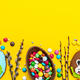 Colorful Festive Easter Background. Top Down View with Copy Space. Chocolate Egg - PhotoDune Item for Sale