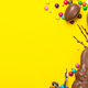 Easter Background. Chocolate Rabbit and Eggs with Colorful Candy. Copy Space on Flat Lay Design - PhotoDune Item for Sale