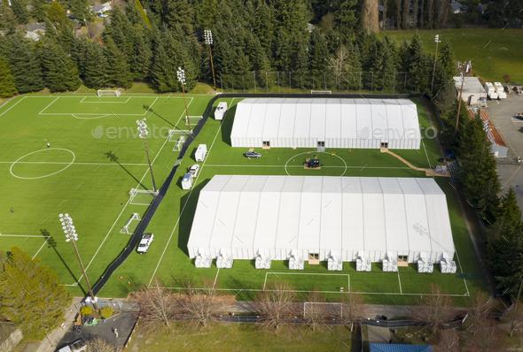 Emergency Hospital Tents have been set up in Shoreline Washington - Stock Photo - Images