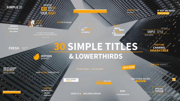 30 Simple Titles & Lowerthirds