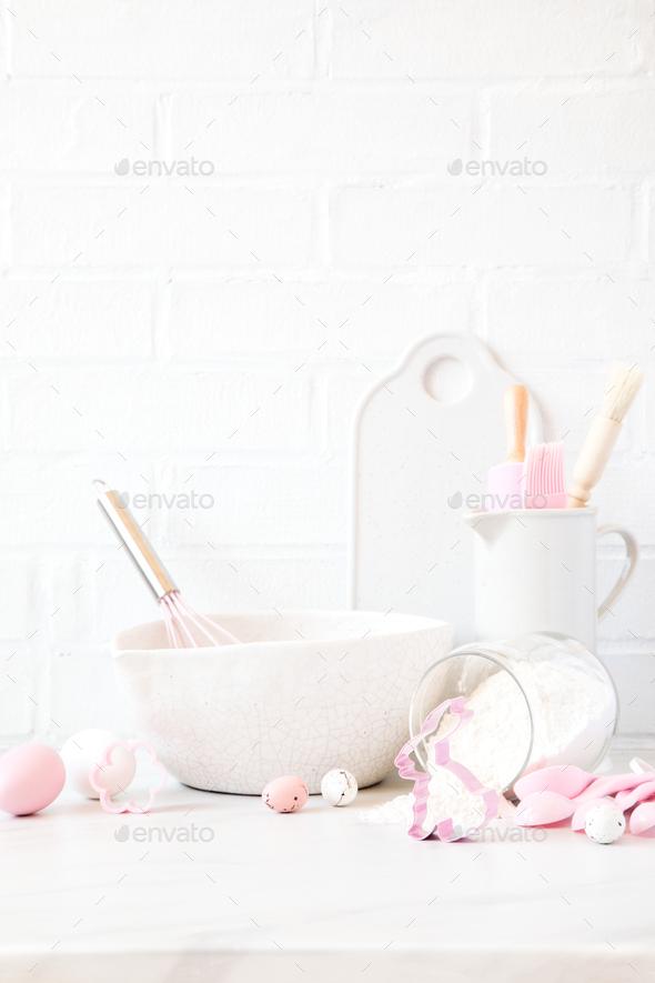 Easter  Baking background.Kitchen utensils - Stock Photo - Images
