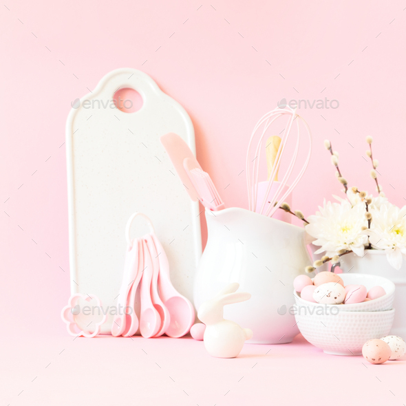Easter baking background.Concept of cooking traditional festive food - Stock Photo - Images