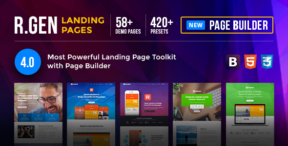 RGen | HTML Landing Pages with Builder