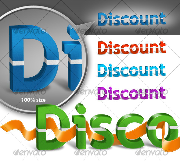 3D Discount Text - Miscellaneous Web Elements