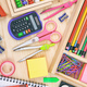 School supplies on wooden desk. Children creativity flat lay - PhotoDune Item for Sale