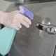 Cropped shot of Spray to clean and disinfect the handle to open the car door. - PhotoDune Item for Sale