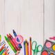 School supplies on wooden desk. Back to school concept. - PhotoDune Item for Sale