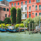 Old ancient vivid colored facades of houses on Grand Canal, Venice, Italy. Vintage hotels and - PhotoDune Item for Sale