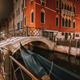 Small channel and arch bridge in lagoon city venice at night. long exposure Venezia Italy - PhotoDune Item for Sale