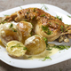 fried chicken leg with new potatoes and sour cream sauce - PhotoDune Item for Sale